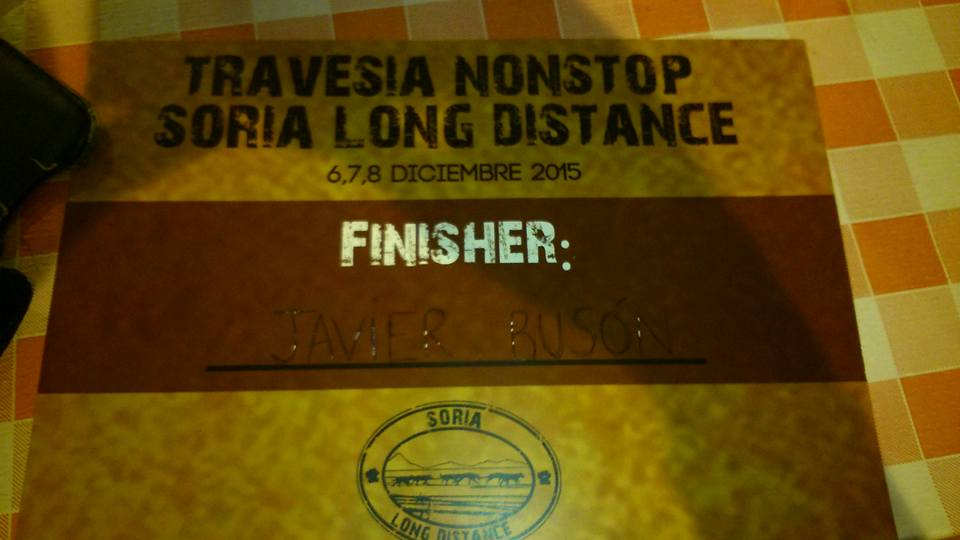 Diploma Finisher de la Soria Long Distance Dryland, formato NonStop